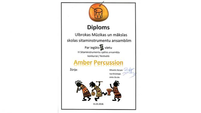 III Sitaminstrumentu spēles ansambļu konkurss/festivāls Amber Percussion
